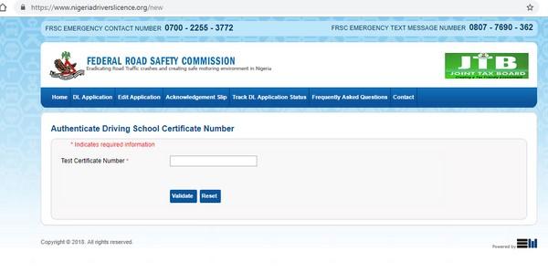 screenshot of FRSC website for license application
