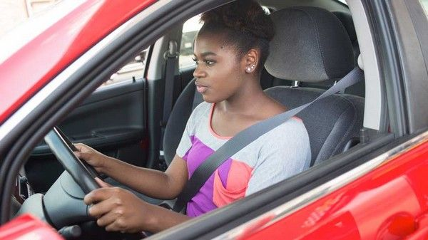 a girl in driving test