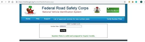 FRSC tracker of number plate