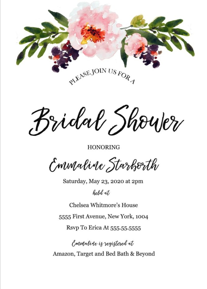 Print Free Wedding Shower Invitation Template