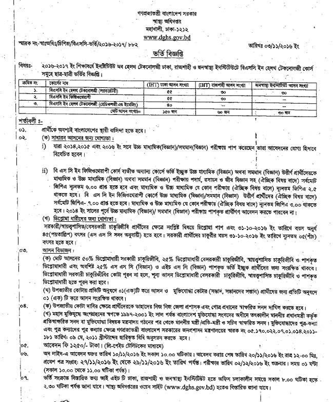 BSc in Health Technology Admission Circular