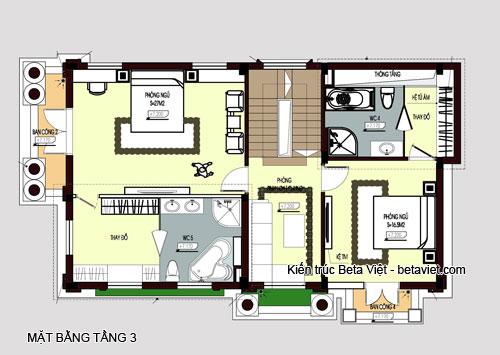 Diện tích tầng 3 của biệt thự cổ điển