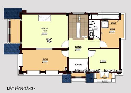 Diện tích tầng 4 biệt thự cổ điển