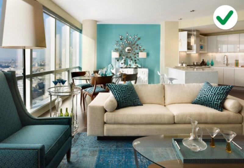 phòng khách trắng - xanh