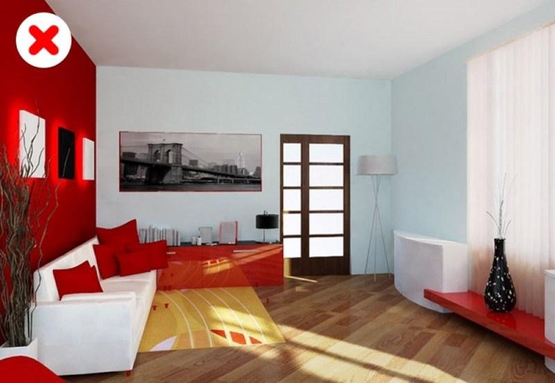phòng khách màu đỏ, trắng