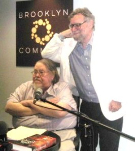 Gardner Dozois and Michael Swanwick at the NYRSF Reading in October 2017.