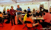 Inside the Gaming Tent in Loncon 3's Fan Village.