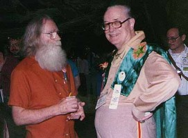 Rusty Hevelin (left) and Forrest J Ackerman (right) at Noreascon 3. Photo by Robert Sneddon from Fanac.org site.