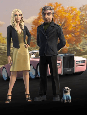 Lady Penelope, Parker, the dog, and FAB 1.