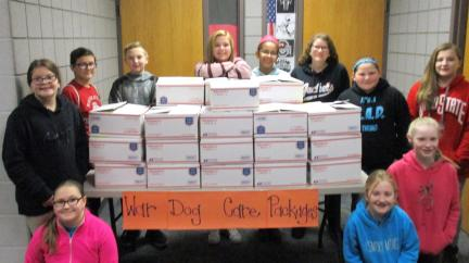Students with War Dog Care Packages