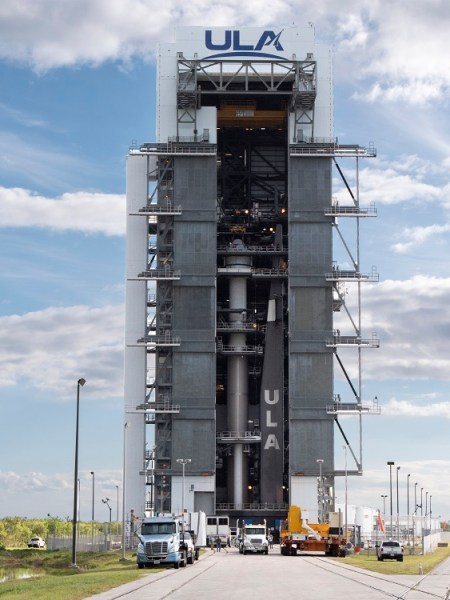 On Nov. 21, 2019 the Boeing Starliner space vehicle was mated to its United Launch Alliance Atlas V rocket at Cape Canaveral, Fla. (Photo courtesy Boeing and United Launch Alliance)