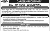 MES Public School & College MPSAC Rawalpindi Jobs 2019 Section Head Required