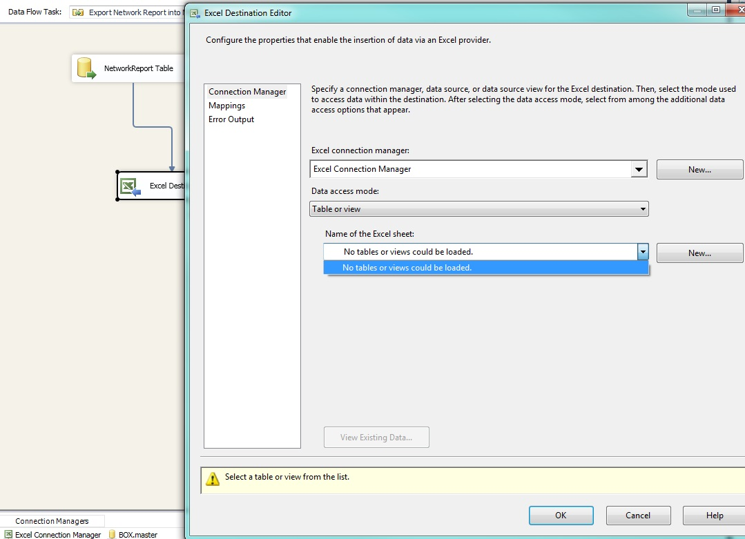 Ssis Assigning An Excel Connection To An Excel Destination