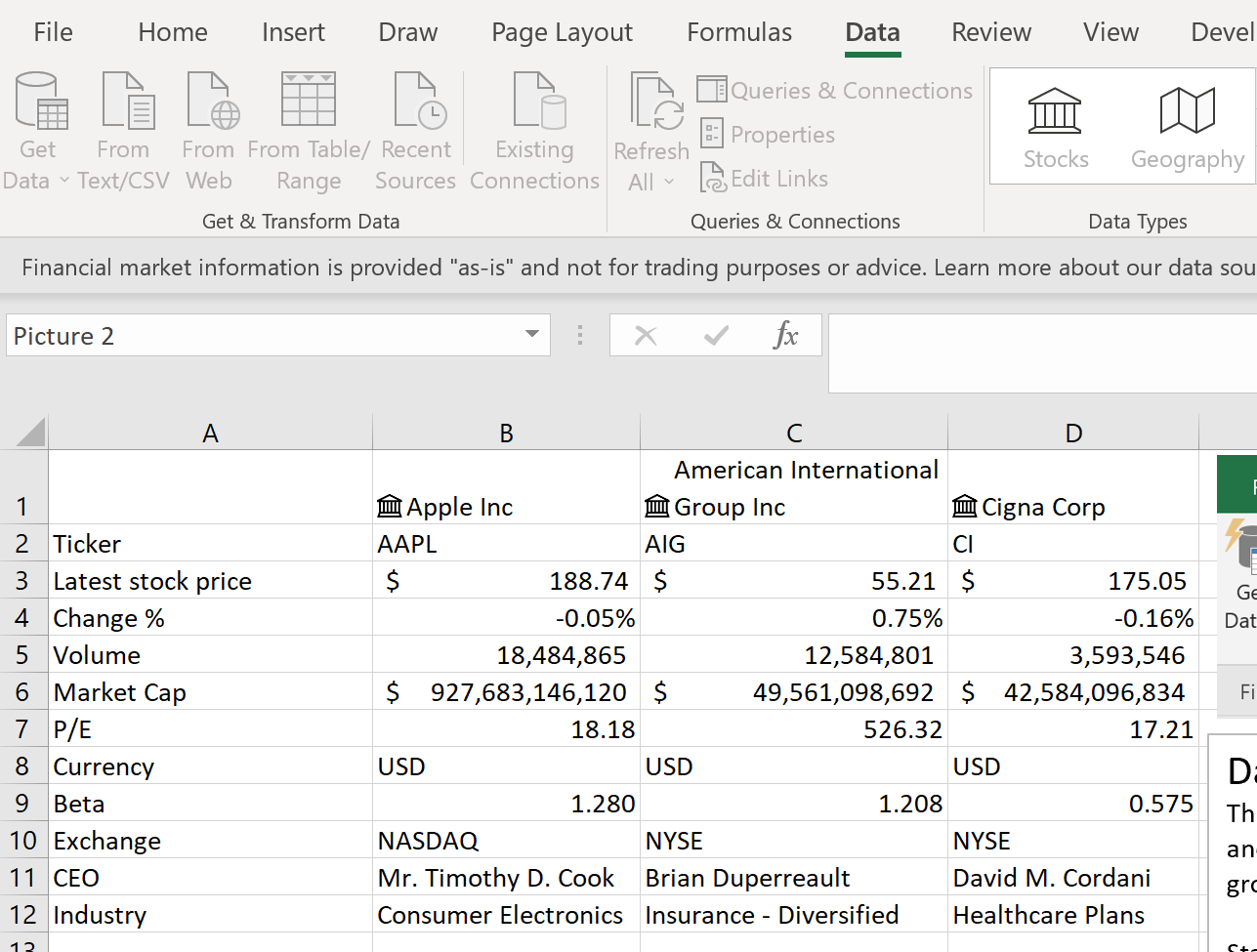 Stock Price Info Into Excel Spreadsheet Solutions