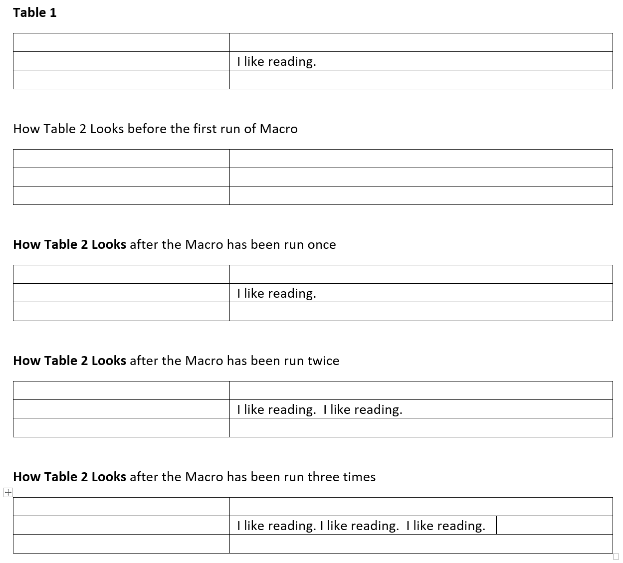 Solved Vba Macro To Copy Table Cell Content From One