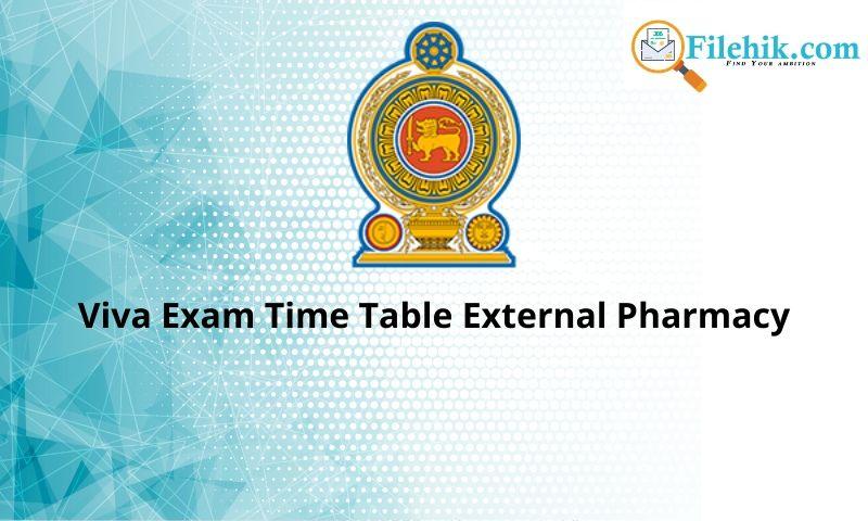 Viva Exam Time Table External Pharmacy
