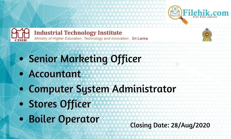 Senior Marketing Officer, Accountant, Computer System Administrator, Stores Officer, Boiler Operator