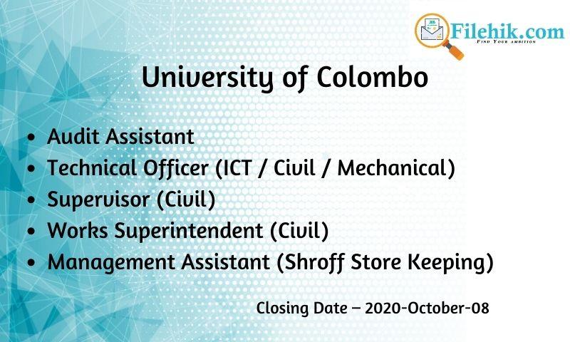 Audit Assistant, Technical Officer (Ict / Civil / Mechanical), Supervisor (Civil), Works Superintendent (Civil), Management Assistant (Shroff, Store Keeping)
