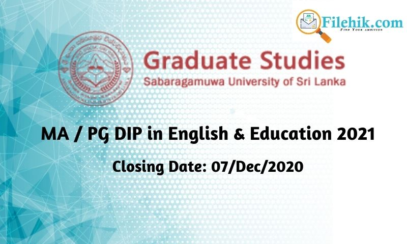 Ma / Pg Dip In English & Education 2021