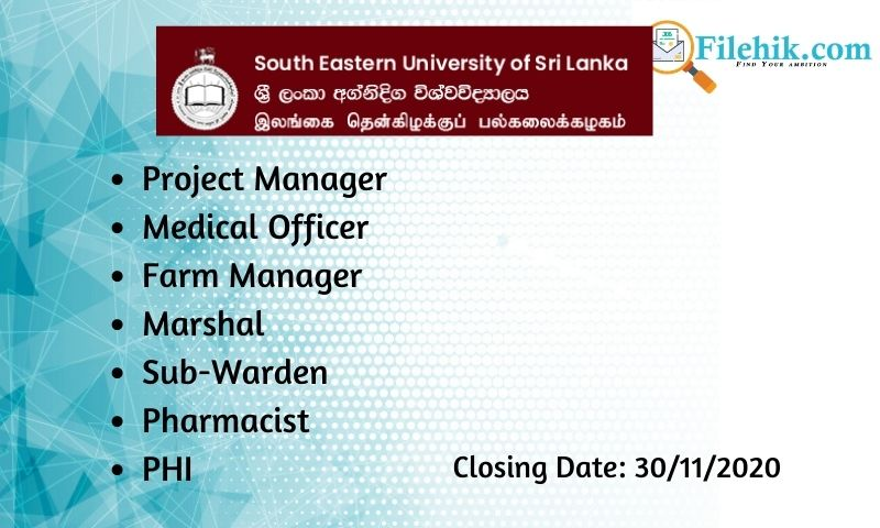 Project Manager, Medical Officer, Farm Manager, Marshal, Sub-Warden, Pharmacist, Phi
