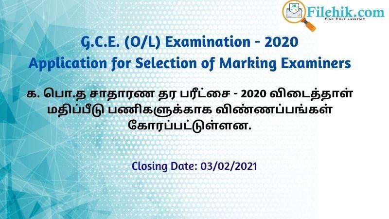 GCE O/L 2020 Paper Marking Online Application