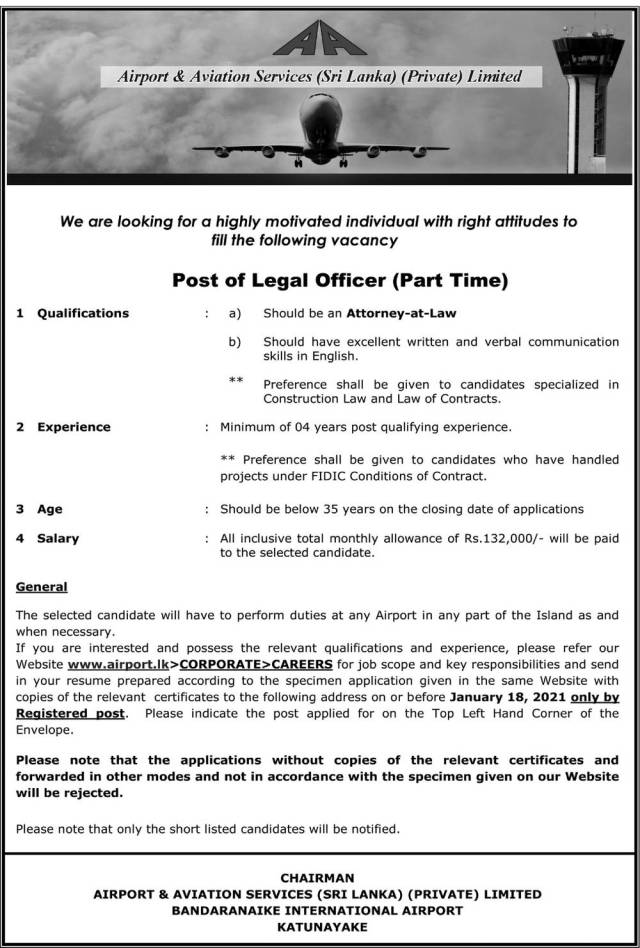 Post Of Legal Officer (Part Time) - Airport &Amp; Aviation Services