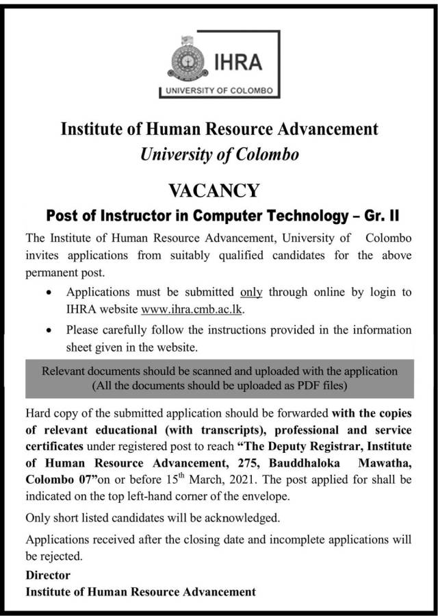 Instructor In Computer Technology - University Of Colombo