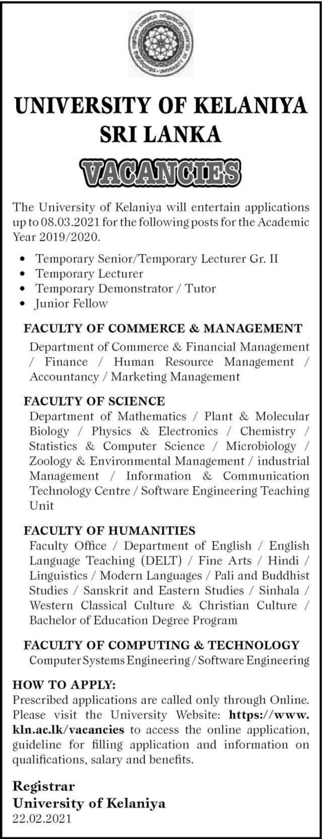 Lecturer, Demonstrator, Junior Fellow - University Of Kelaniya