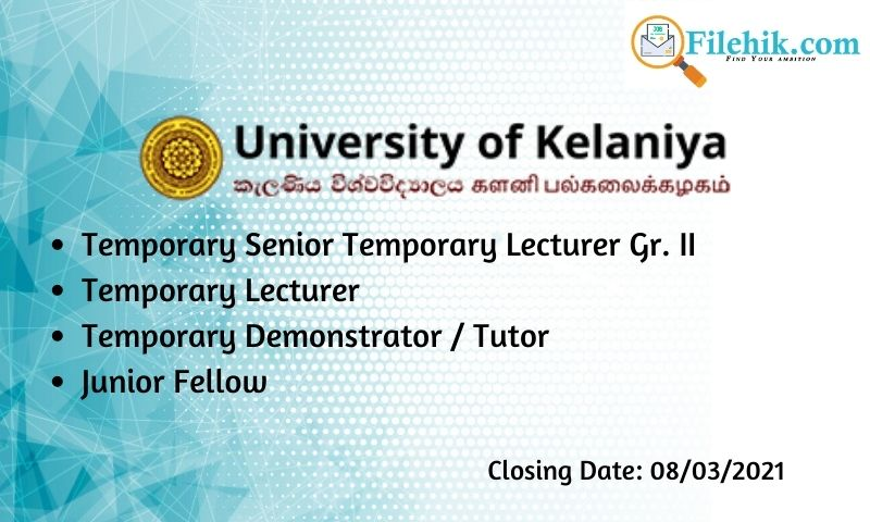 Lecturer, Demonstrator, Junior Fellow – University Of Kelaniya
