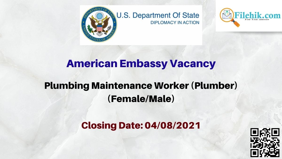 American Embassy Plumber Career Opportunities 2021