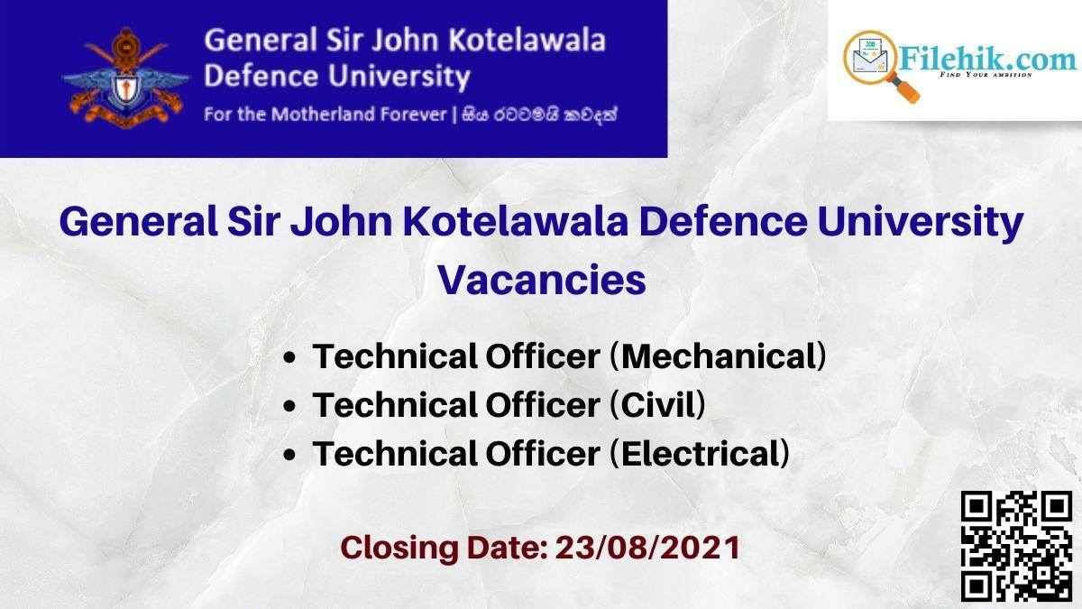 General Sir John Kotelawala Defence University Career Opportunities 2021
