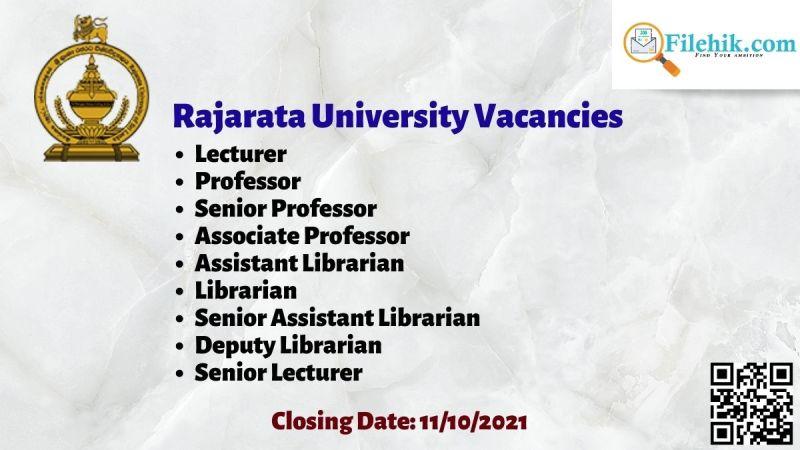 Rajarata University Vacancies