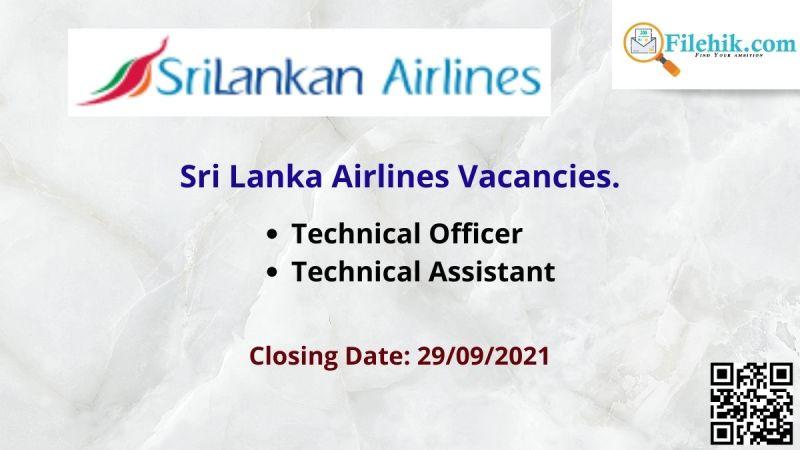 Sri Lanka Airlines Vacancies.