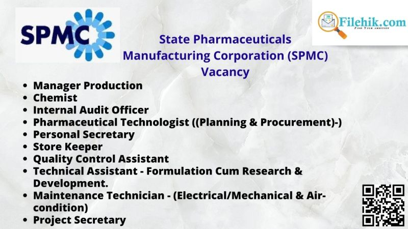 State Pharmaceuticals Manufacturing Corporation (SPMC) Vacancy