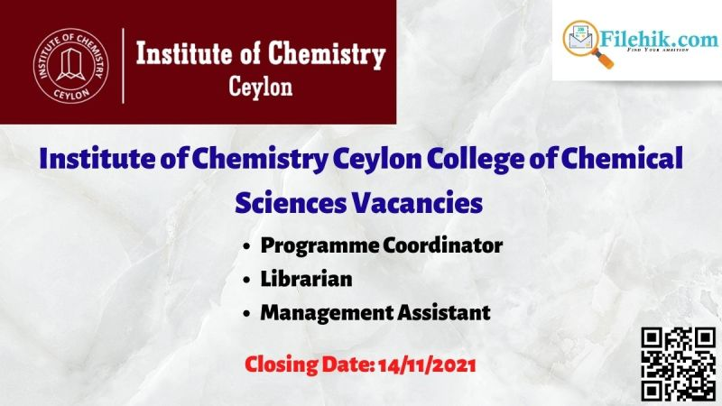 Institute of Chemistry Ceylon College of Chemical Sciences Vacancies