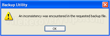An inconsistency was encountered in the requested backup file
