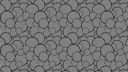 Black and White Overlapping Concentric Circles Background Pattern