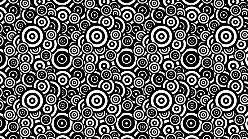 Black and White Seamless Overlapping Concentric Circles Pattern