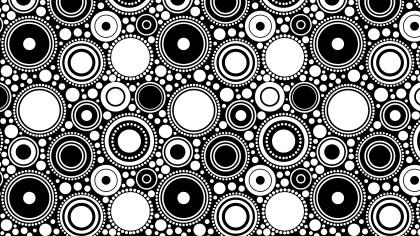 Black and White Seamless Geometric Circle Pattern Background