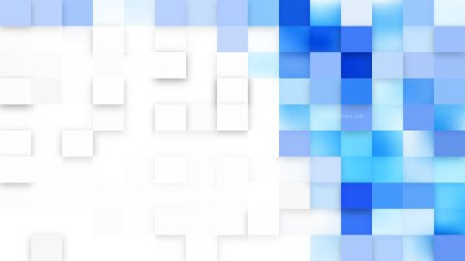 Blue and White Square Mosaic Background