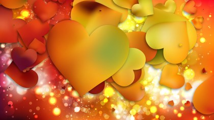 Red and Yellow Valentines Day Heart Background