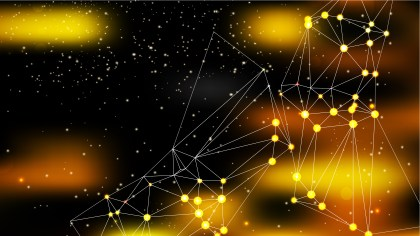 Abstract Black and Gold Connected Lines and Dots Background Image