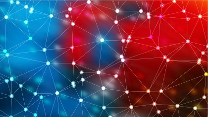 Connecting Dots and Lines Red and Blue Abstract Background