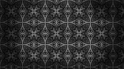 Black Vintage Decorative Floral Pattern Wallpaper