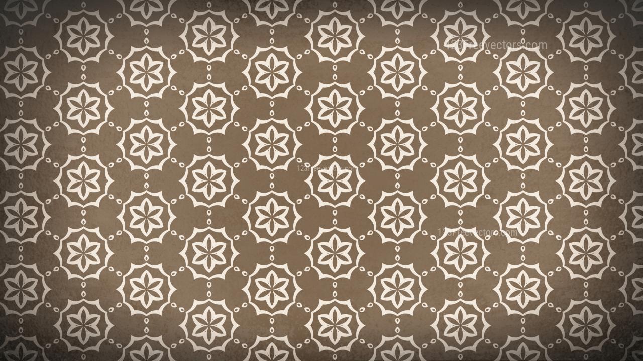 Copper Color Vintage Flower Wallpaper Pattern