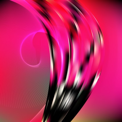 Abstract Pink and Black Flowing Curves Background Vector Graphic