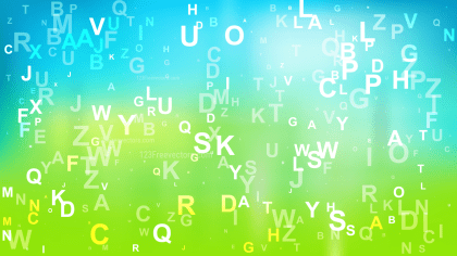 Abstract Blue and Green Letters Background