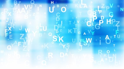 Abstract Blue and White Scattered Alphabet Letters Background Vector Art