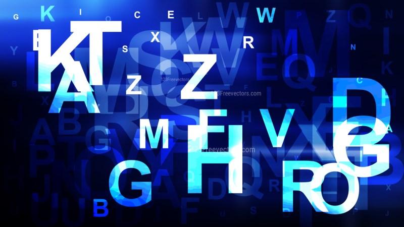 Blue Black and White Random Alphabet Letters Background Design