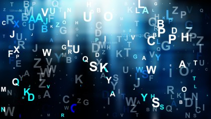 Blue Black and White Scattered Alphabet Letters Background Vector Art